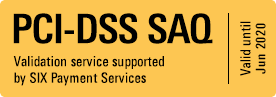 PCI-DSS SAQ Valid until June 2020. Validation service supported by SIX payment Services.